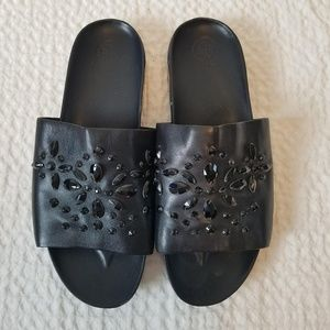 Tory Burch Beaded Leather Slides Sandals Black